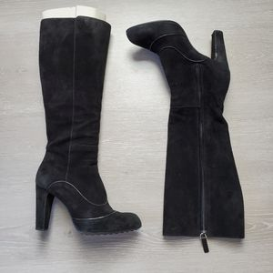 Tod's Black Suede Knee High Boots 38/8